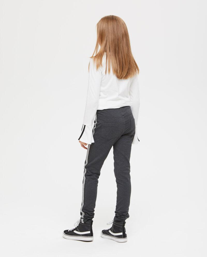 Pantaloni stretch con bande glitterate