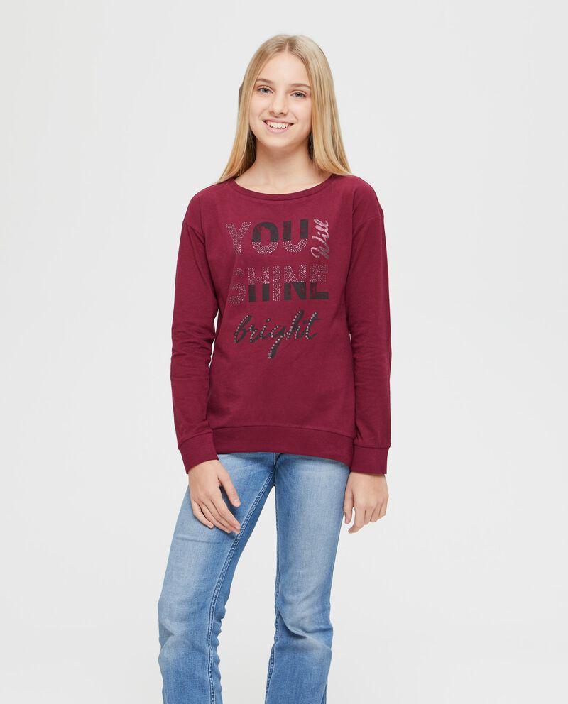 T-shirt puro cotone lettering glitter