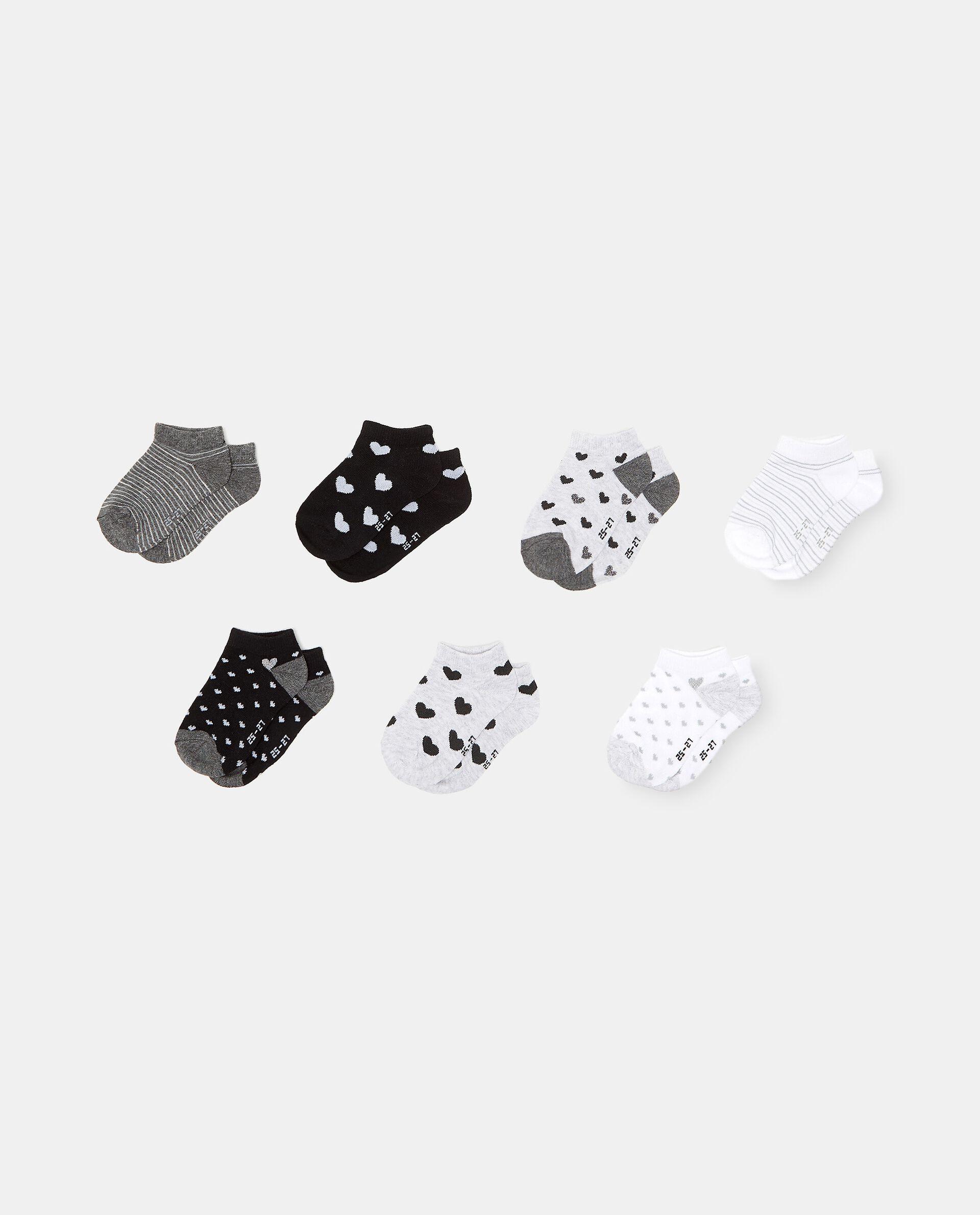 Set con 7 paia di calzini stampati in cotone organico bambina