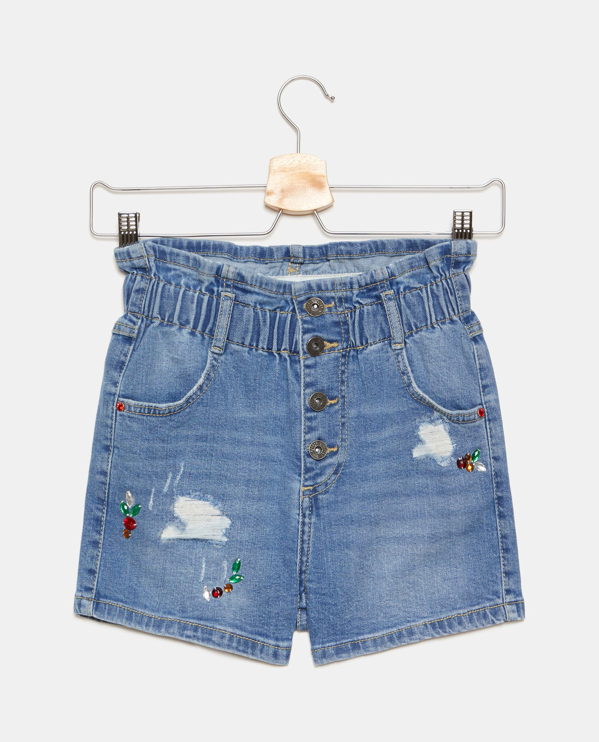 Shorts denim arricciato in cotone stretch ragazza