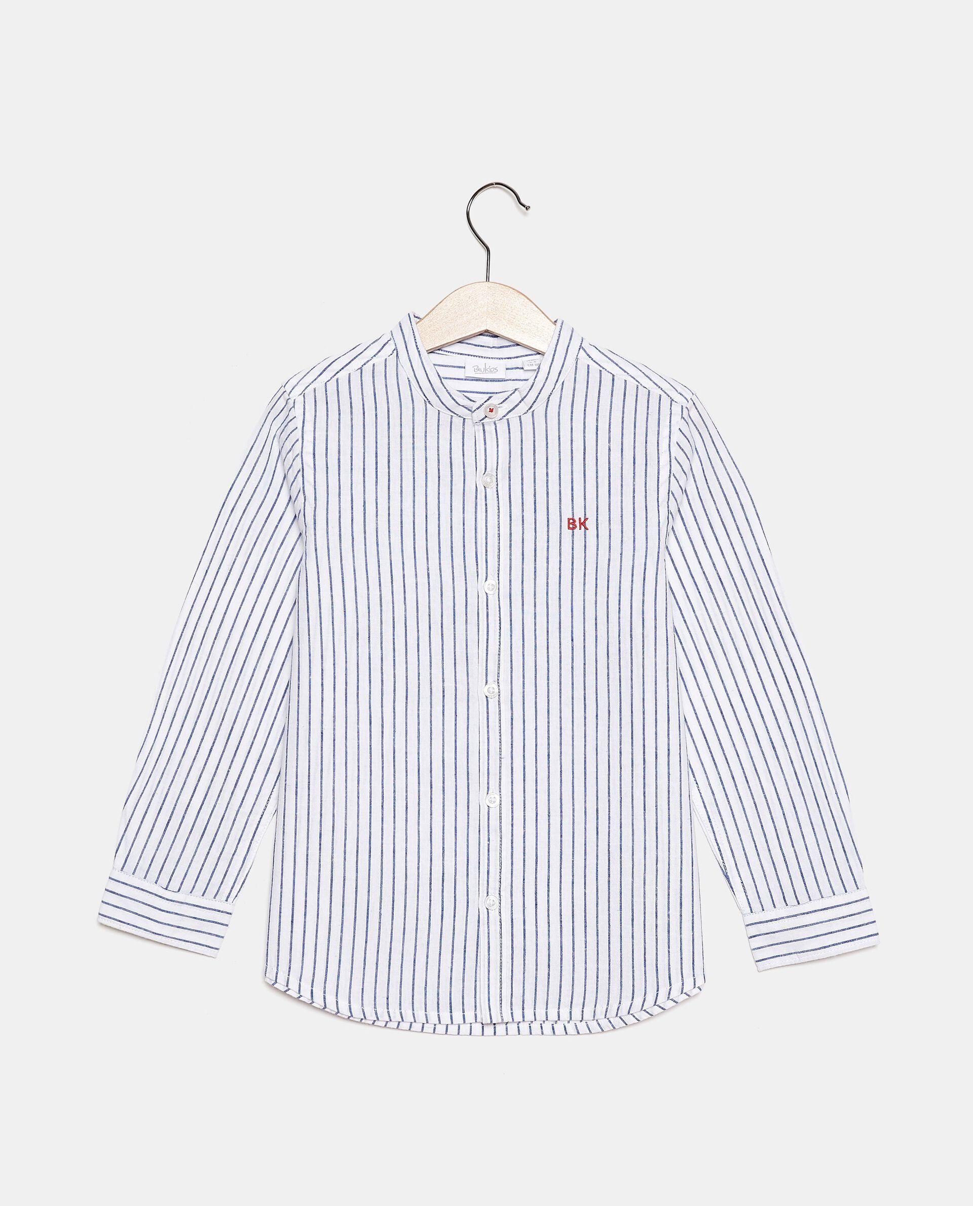 Camicia rigata in cotone misto lino bambino