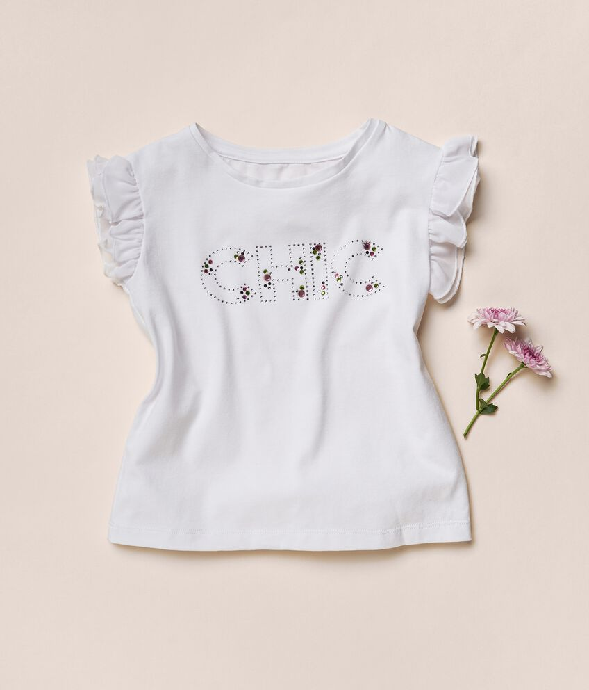 T-shirt in cotone stretch con strass MADE IN ITALY double 1