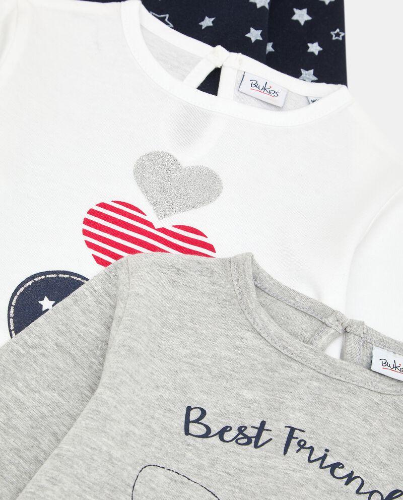 Pack con 3 t-shirt di cotone neonata single tile 1