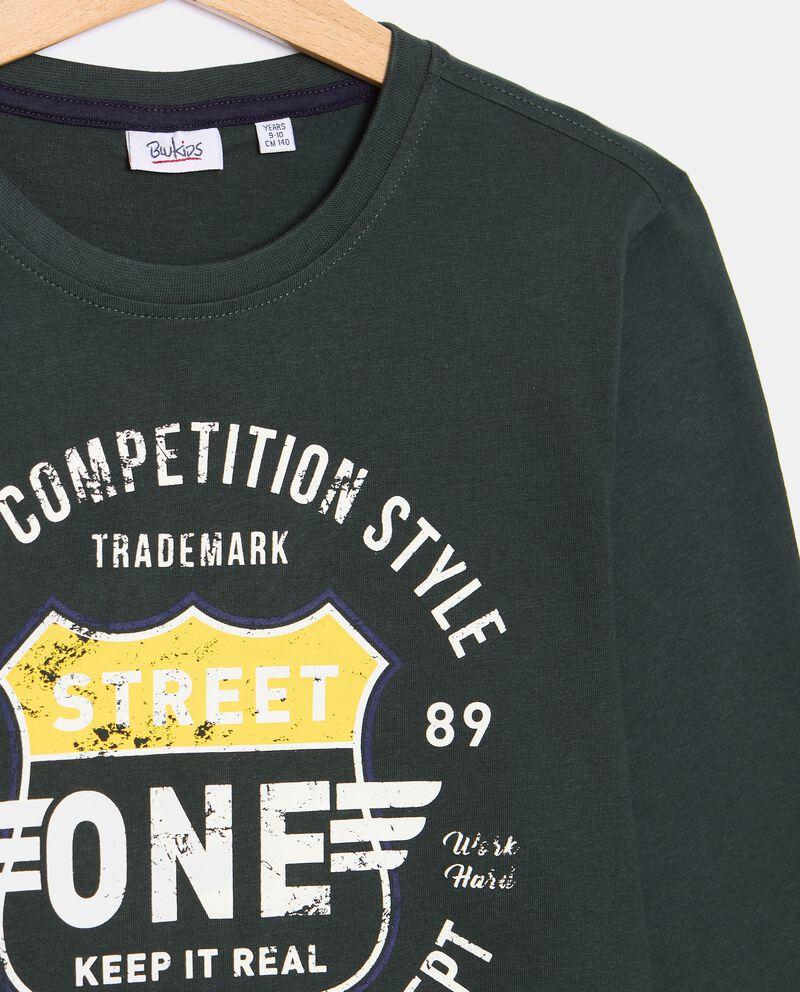 T-shirt di cotone organico con stampa ragazzo single tile 1