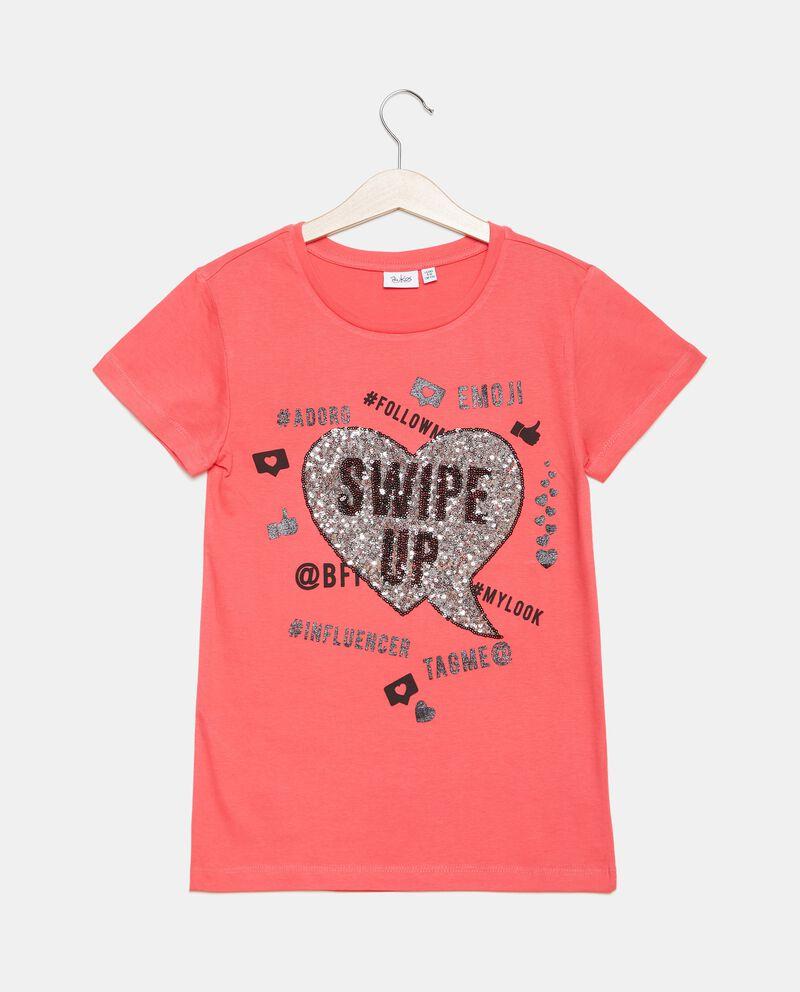 T-shirt jersey in cotone organico con paillettes ragazza