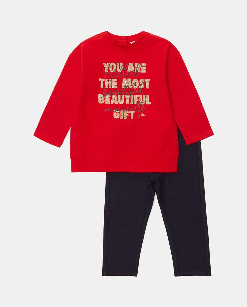 Set jogging con maglia e pantaloni in tinta unita neonata