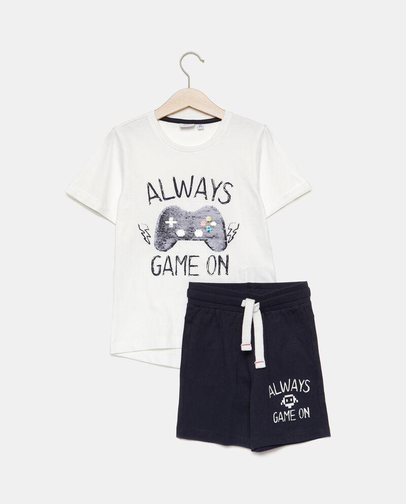 Set jogging puro cotone con t-shirt e bermuda bambino