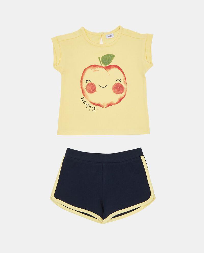 Jogging set t-shirt mela glitter e shorts