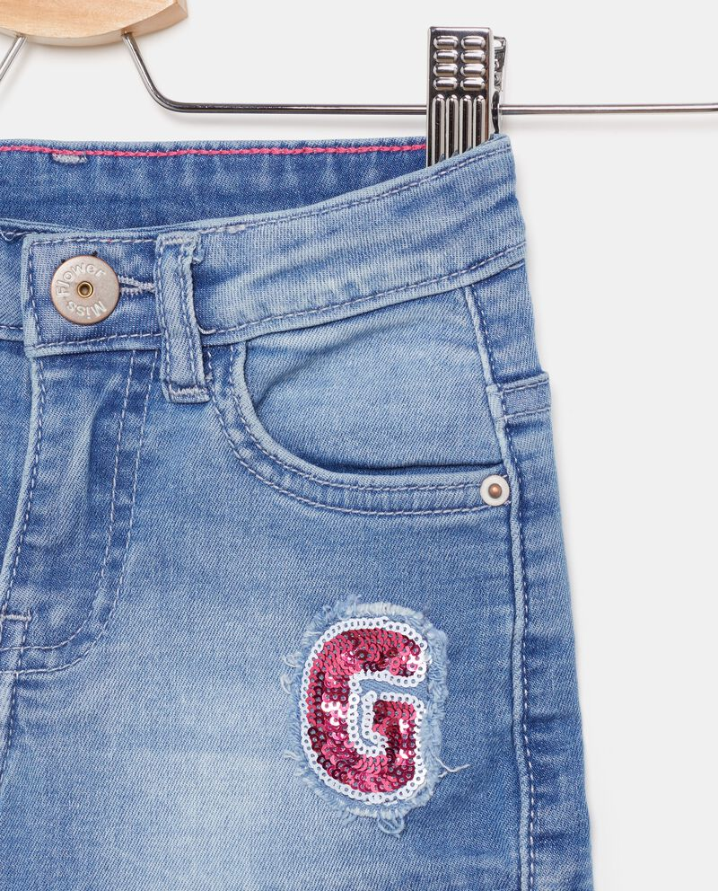 Shorts bambina in jeans con volant