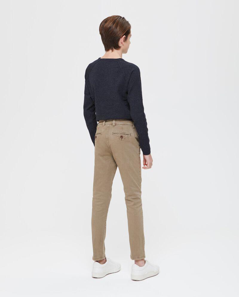 Pantaloni cotone stretch tinta unita