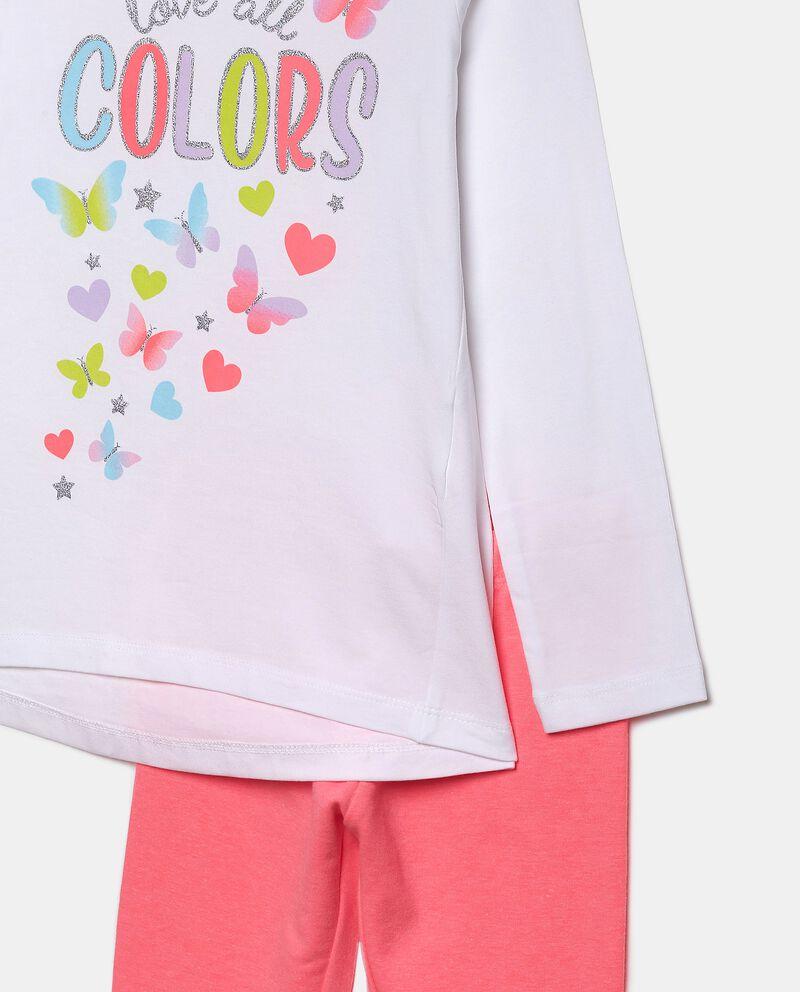 Set con maglia e leggings tinta unita bambina