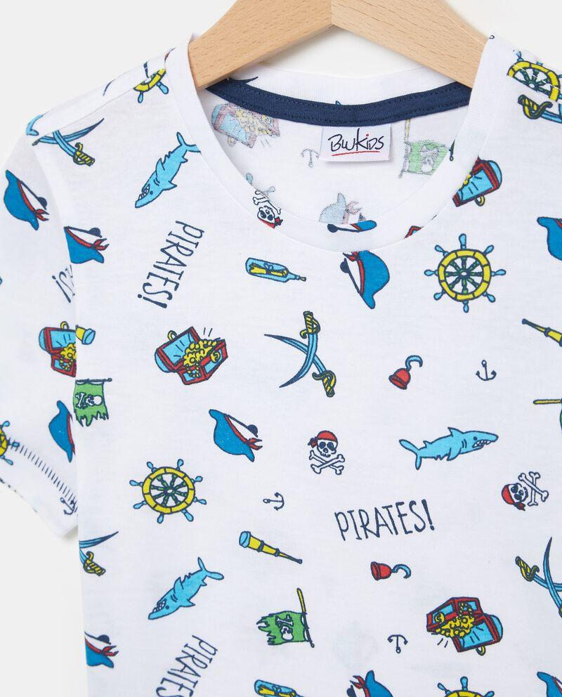T-shirt bianca in puro cotone con fantasia pirati bambino