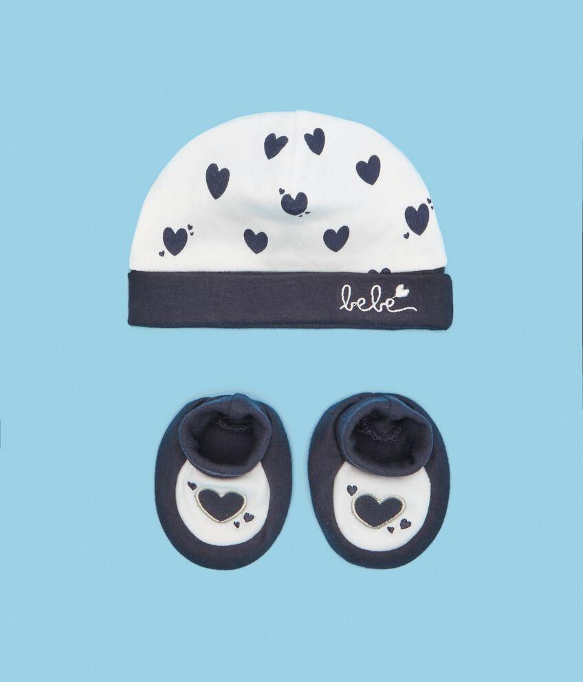 Set puro cotone berrettino e scarpette neonato
