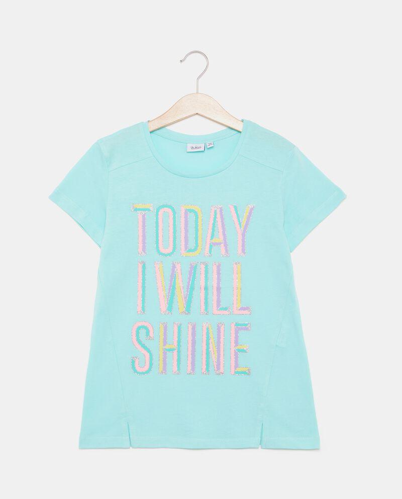 T-shirt in puro cotone con lettering ragazza cover
