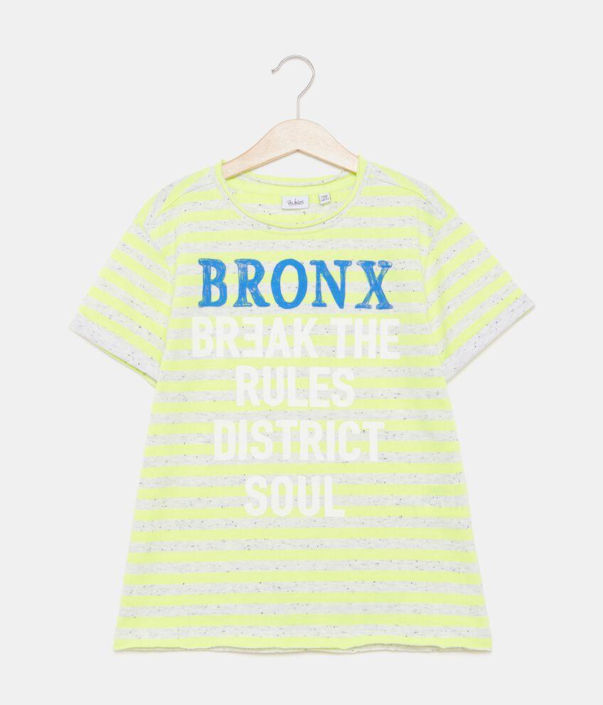 T-shirt con motivo a righe e lettering ragazzo double 1