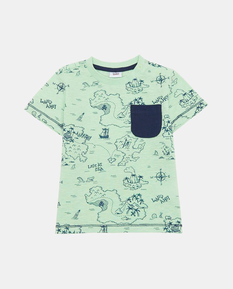 T-shirt con costina e fantasia