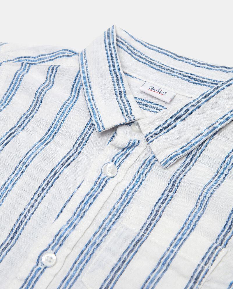 Camicia a righe in misto lino e cotone neonato single tile 1