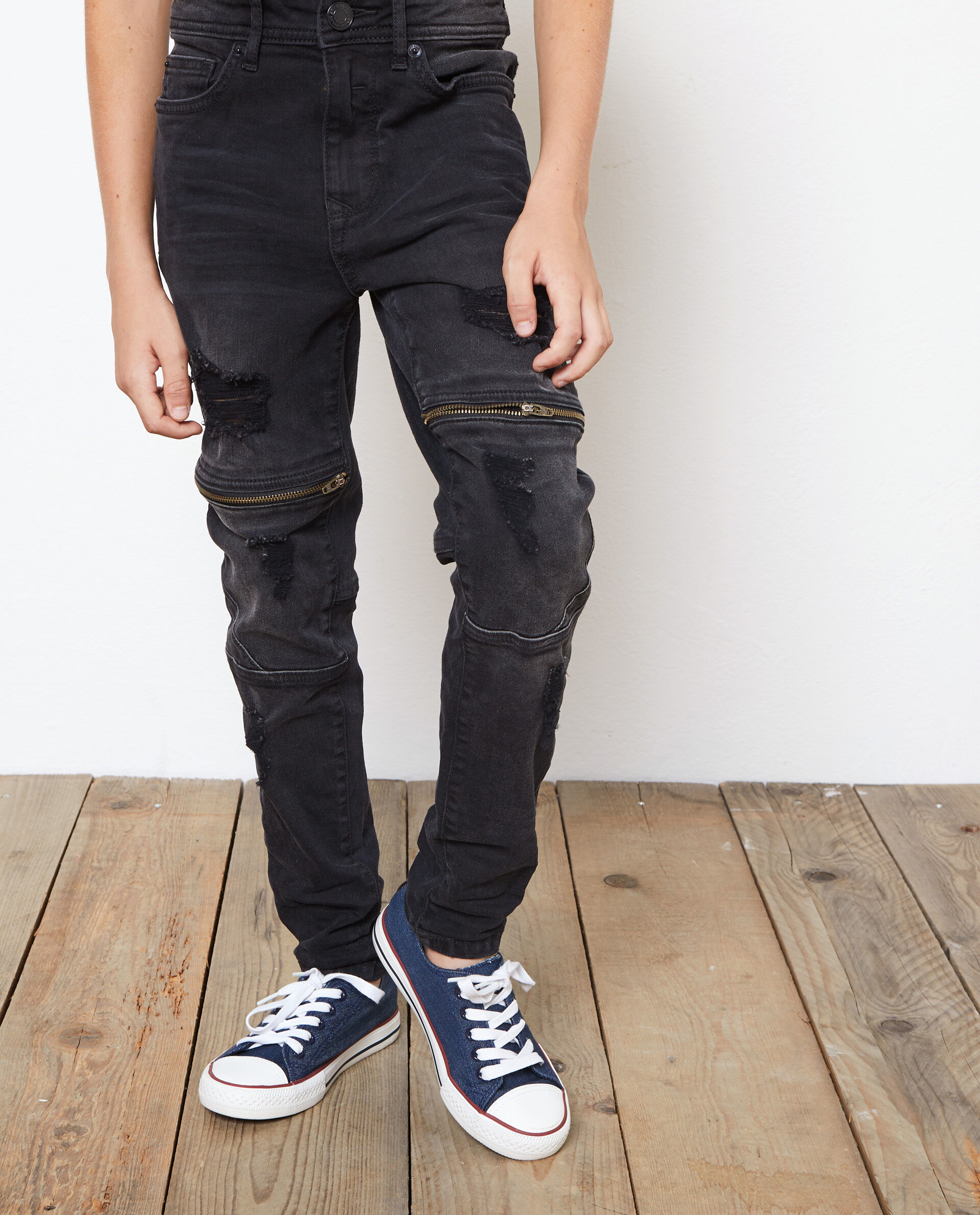Jeans stretch tasche con zip
