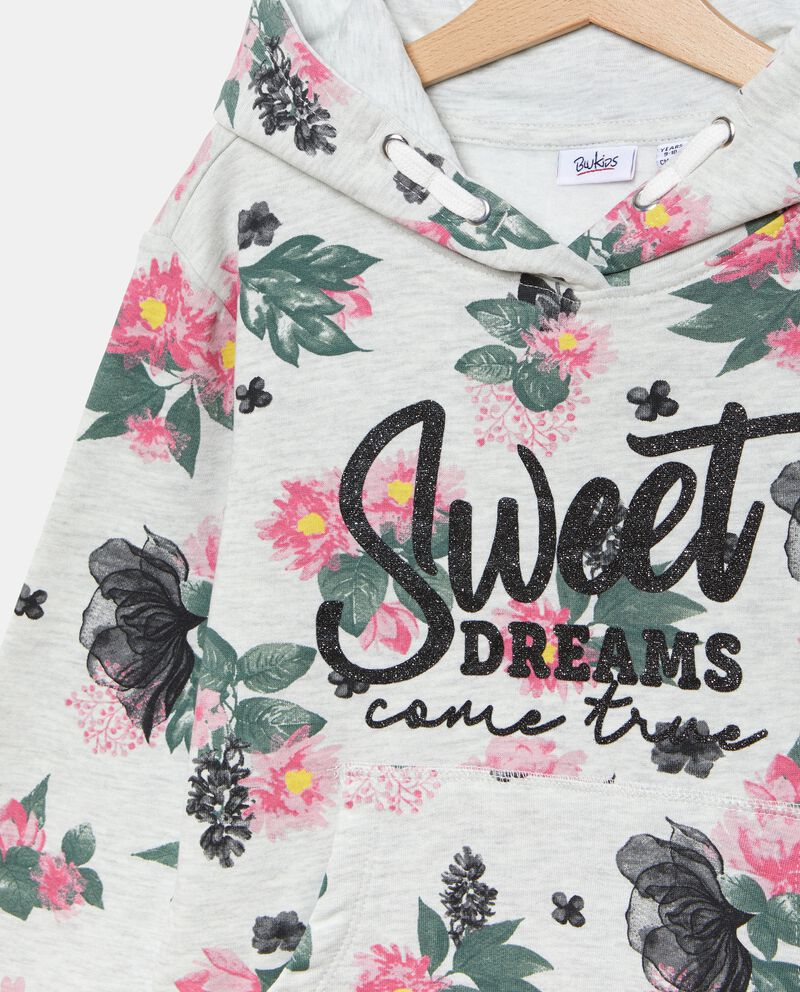 Felpa in fantasia floreale con lettering ragazza