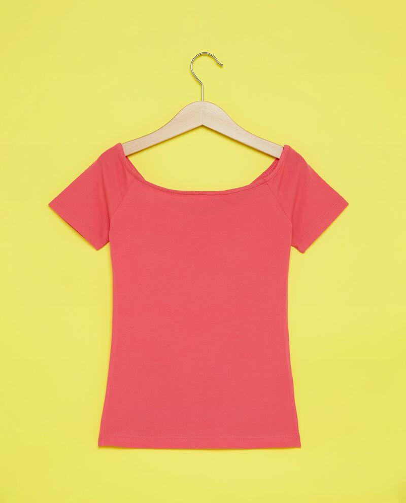 T-shirt in cotone misto elastane tinta unita ragazza