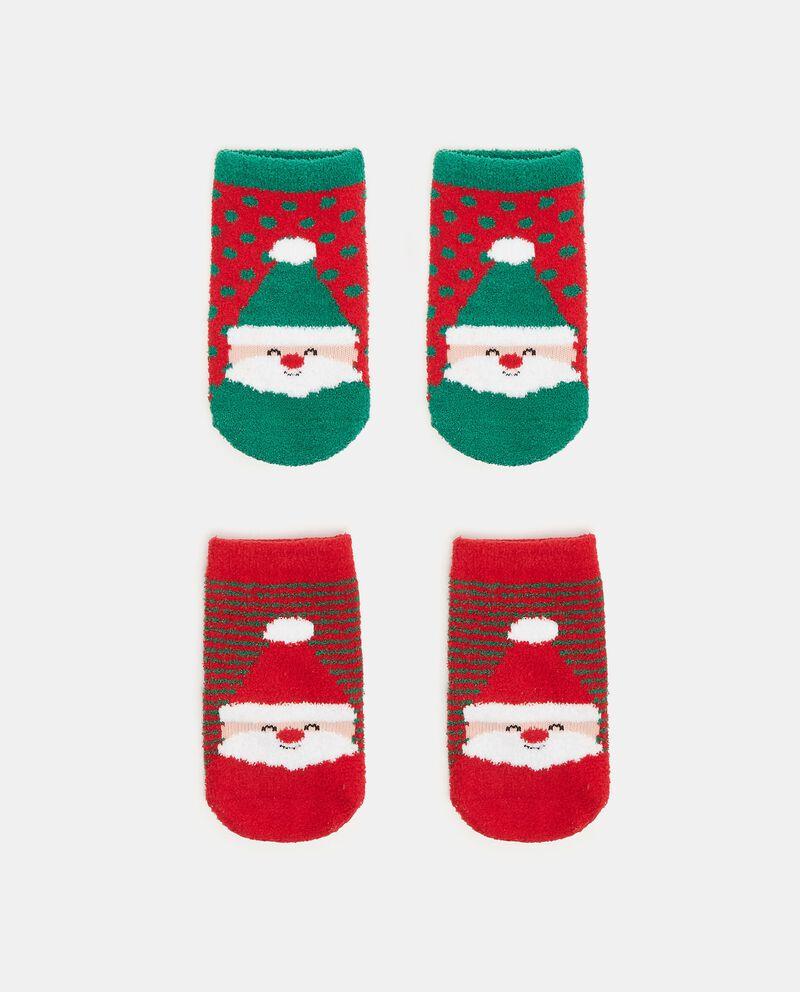 Pack con 2 calze antiscivolo stampa natalizia neonato cover