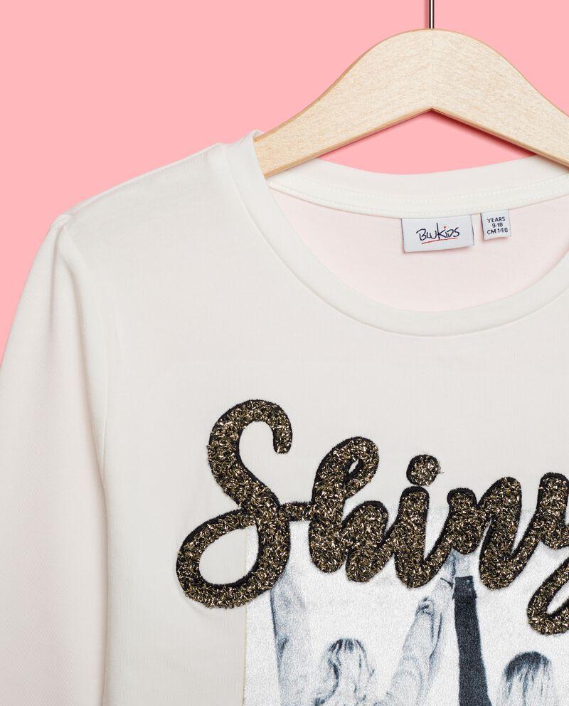 Maglia con lettering in glitter ragazza