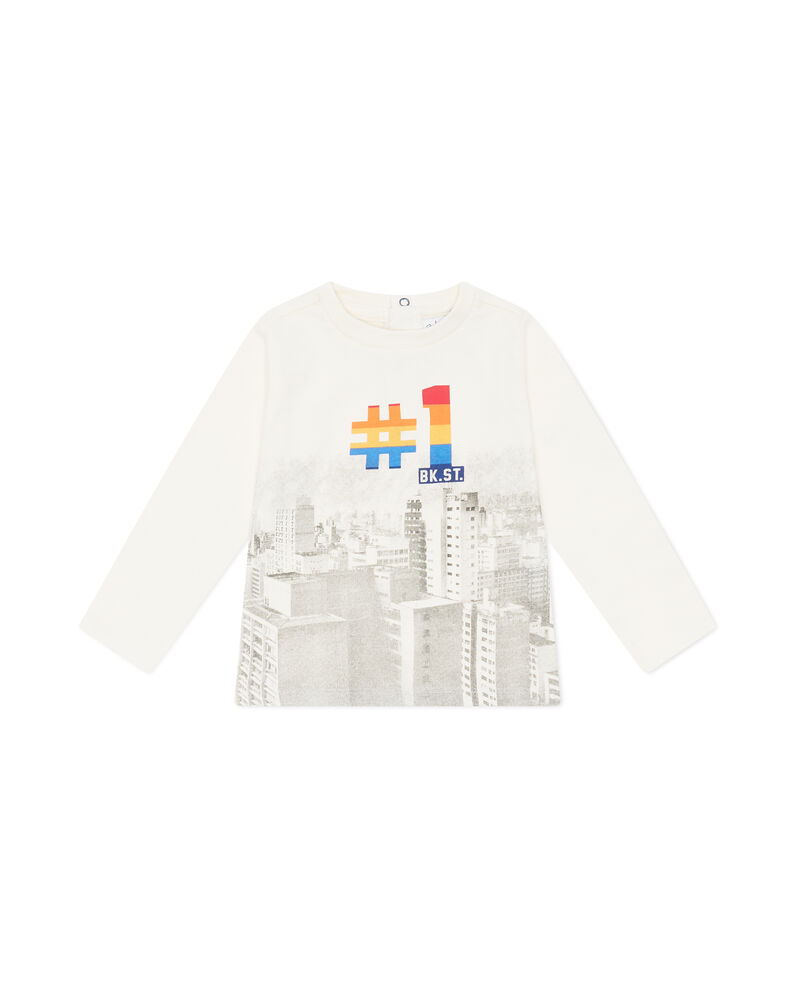 T-shirt girocollo stampa grattacieli