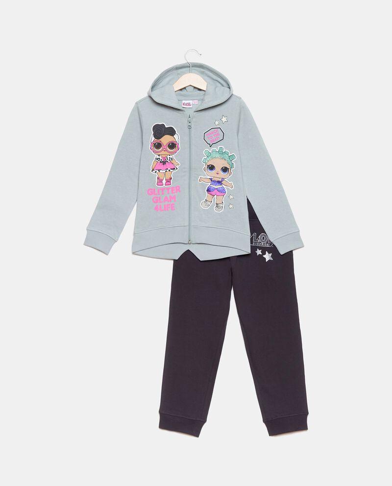 Set con felpa e pantaloni in puro cotone bambina