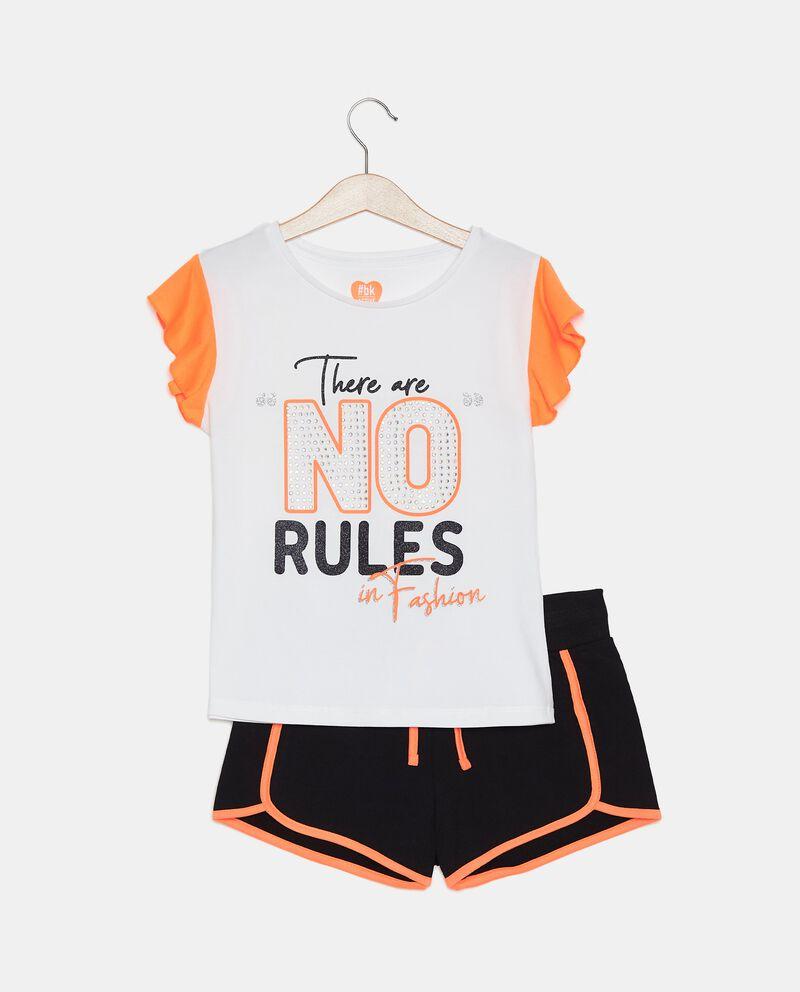 Completo t-shirt e shorts in cotone organico ragazza