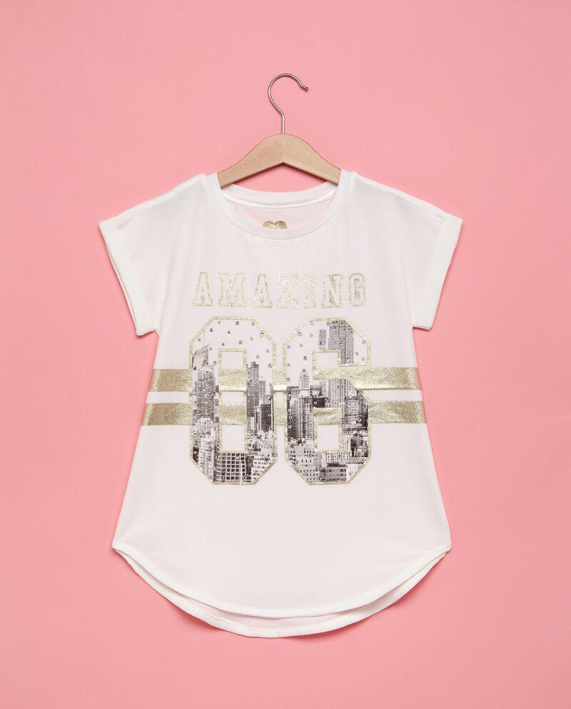 T-shirt cotone stretch con paillettes