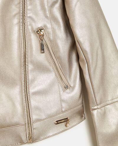 Giacca metallizzata con zip ragazza