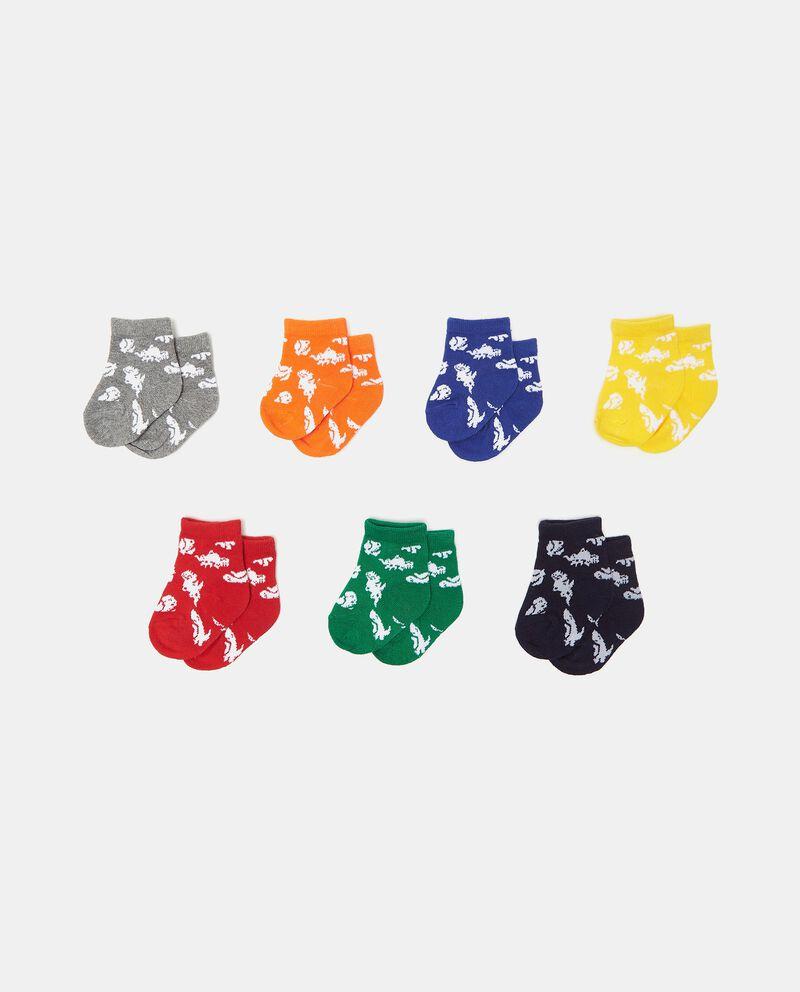 Set con 7 paia di calzini in cotone organico stampati neonatodouble bordered 0