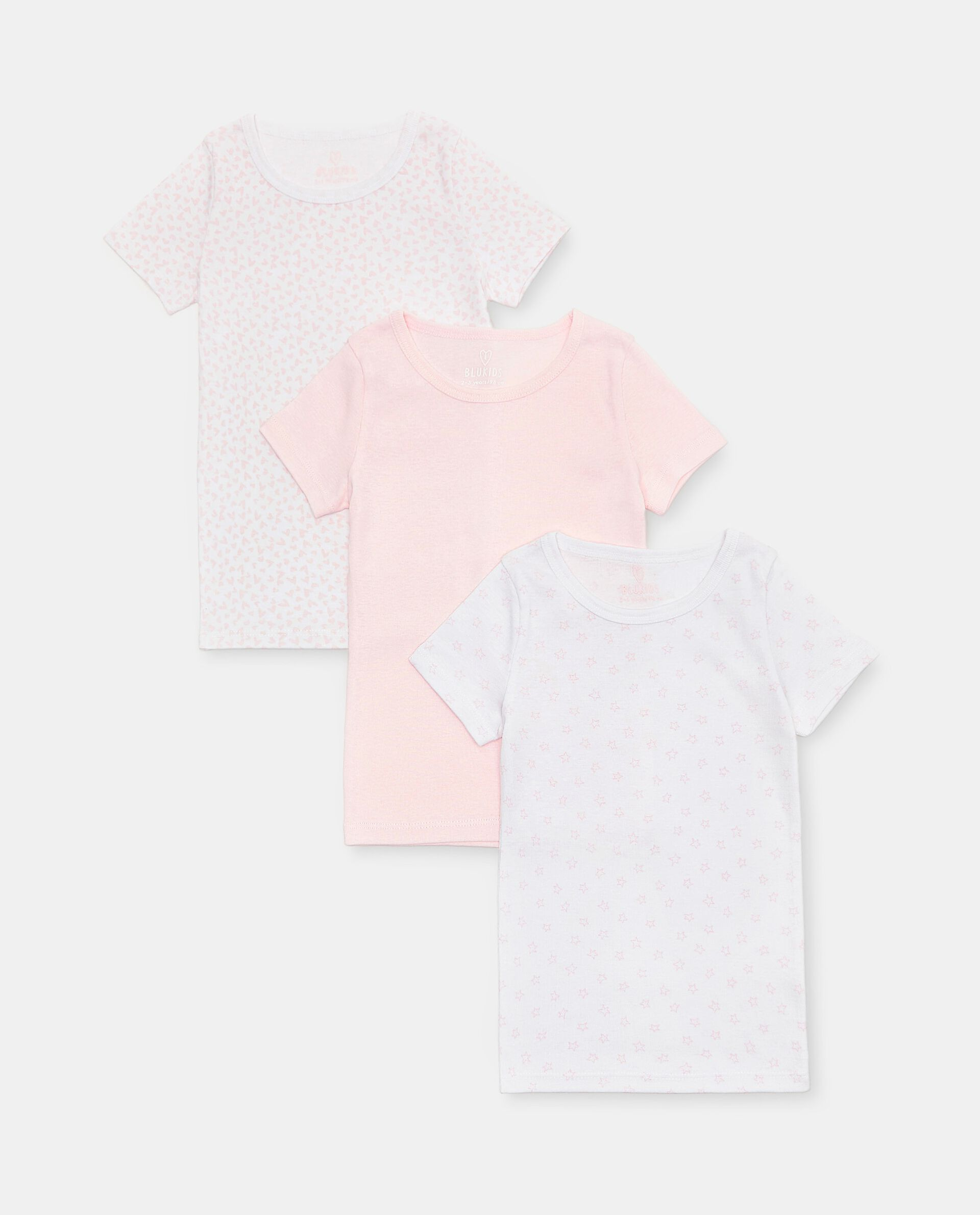 Set di 3 t-shirt intime di puro cotone biologico bambina