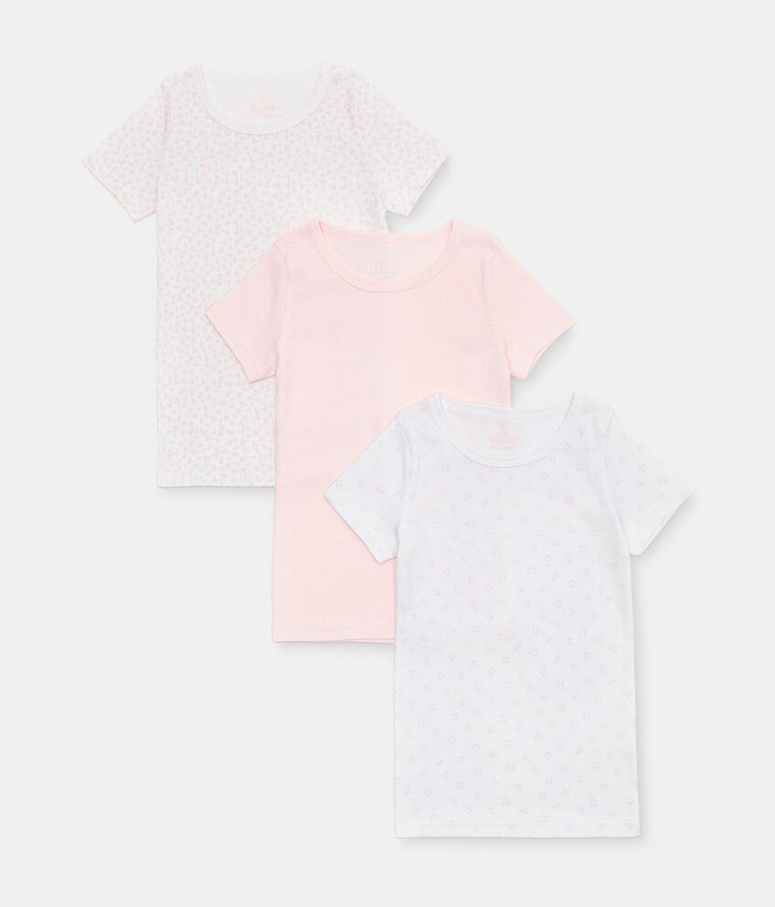 Set di 3 t-shirt intime di puro cotone biologico bambina double 1