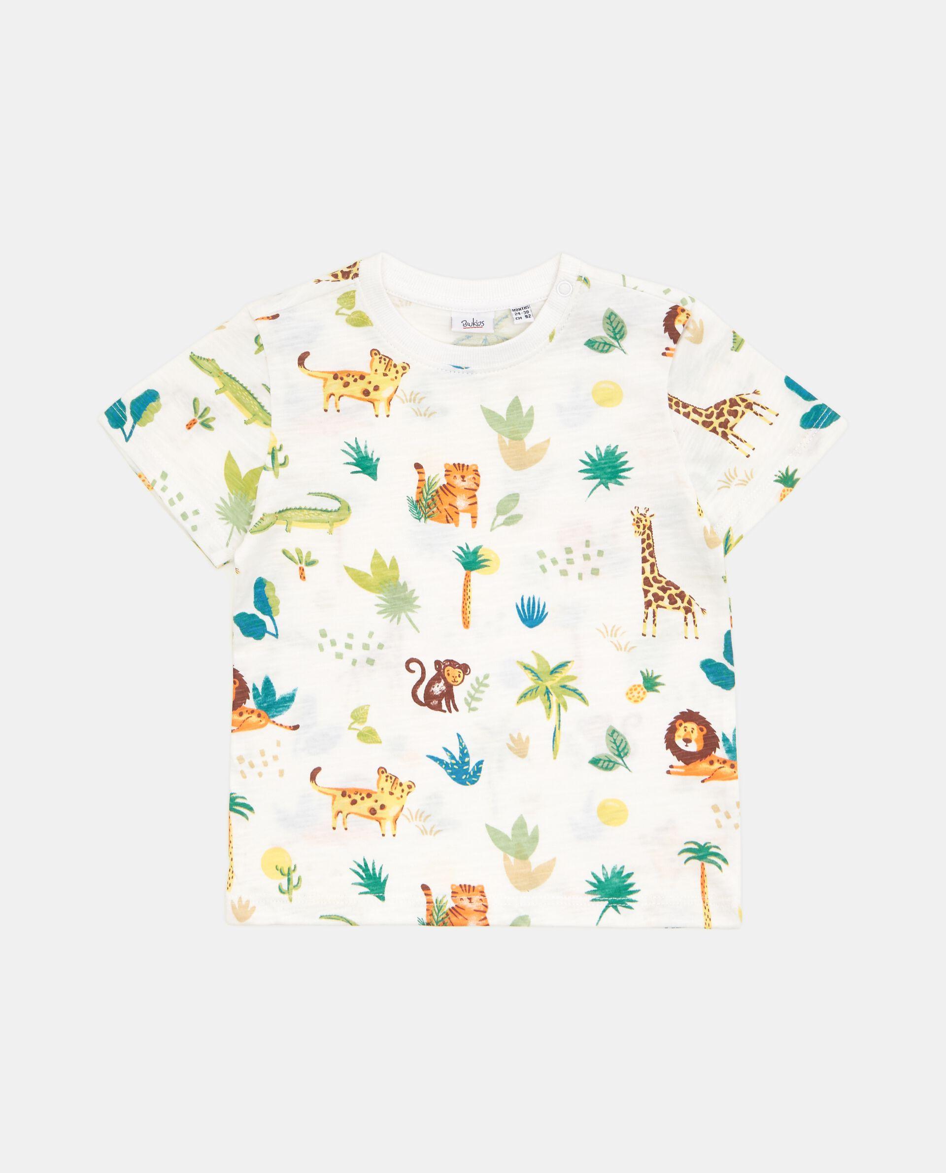 T-shirt con fantasia in puro cotone neonato