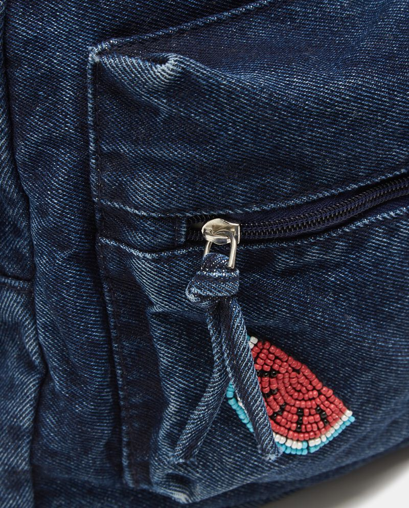 Zainetto effetto denim con patch applicati bambina
