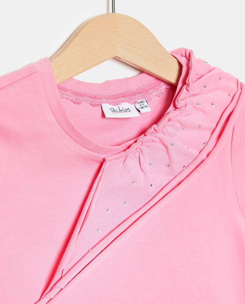T-shirt in cotone organico con dettaglio ruche sul fronte bambina