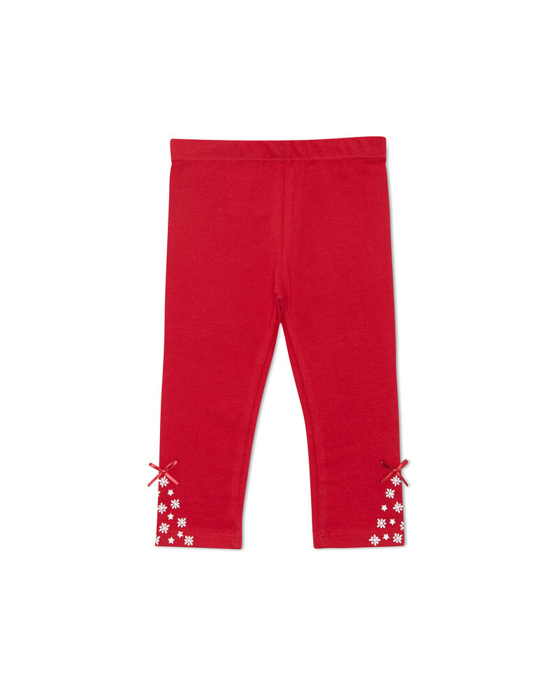 Pantaloni stretch stampa e fiocchetti
