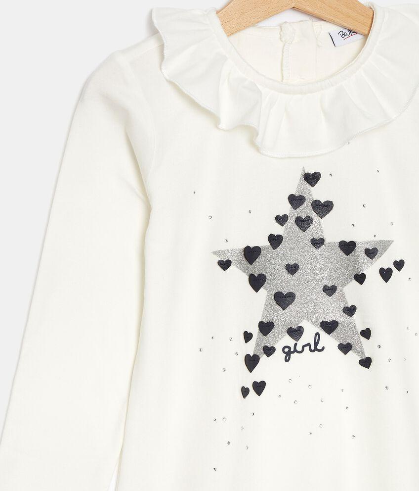 T-shirt in jersey con ruche sul colletto bambina double 2