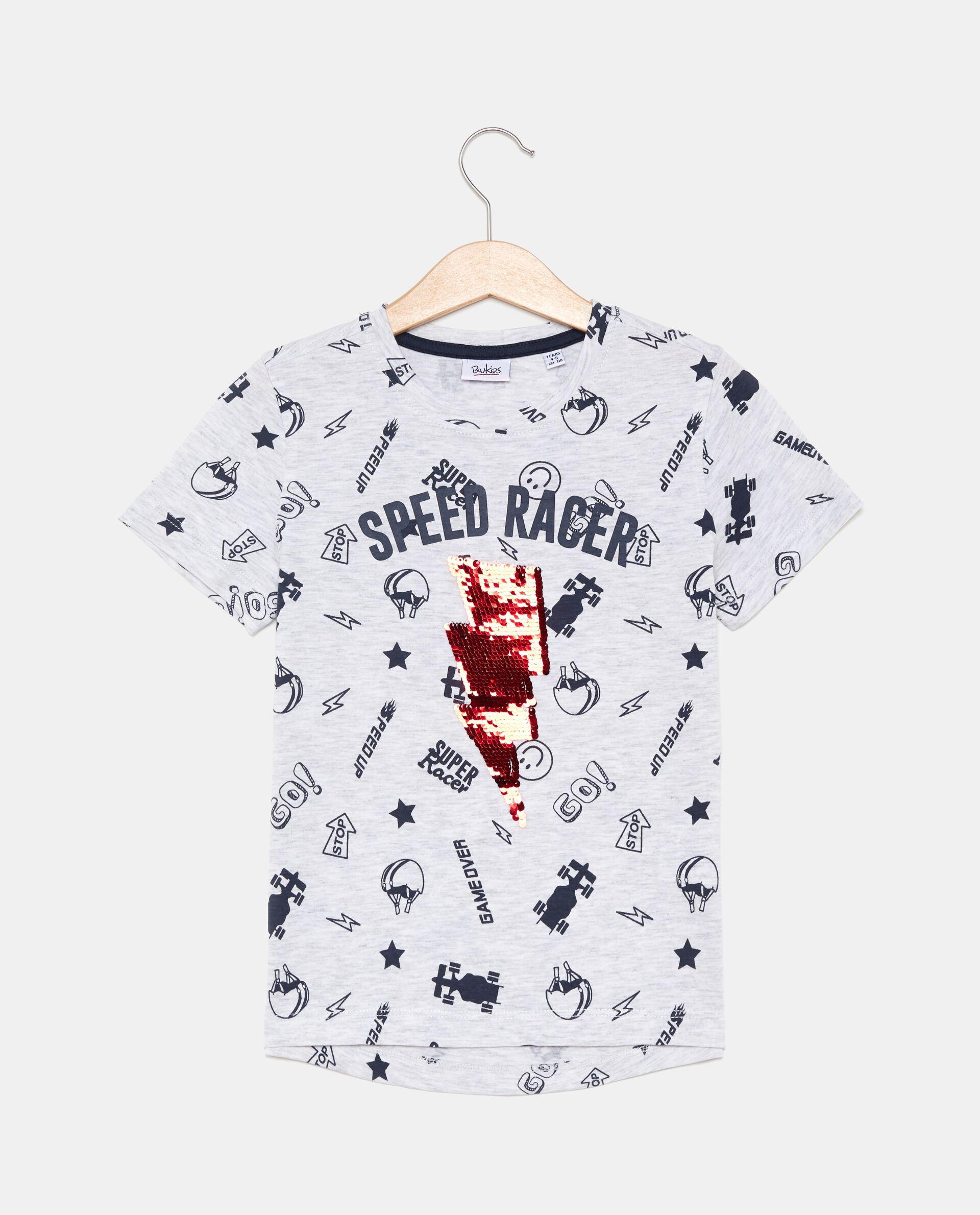 T-shirt in cotone con fulmine in paillettes reversibili bambino