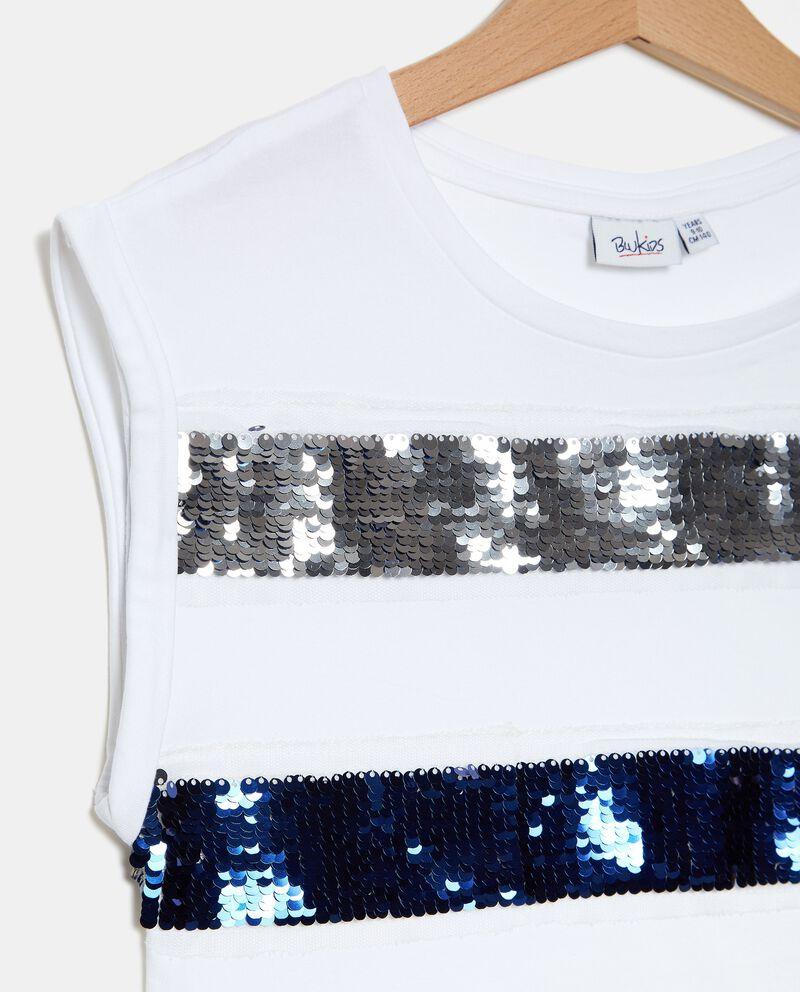 T-shirt in jersey cotone organico stretch con paillettes ragazza