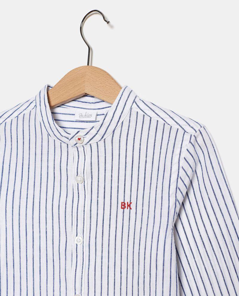 Camicia rigata in cotone misto lino bambinodouble bordered 1