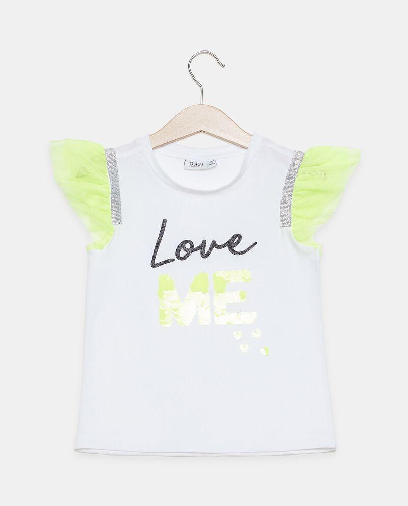 T-shirt in cotone organico con balze bambina