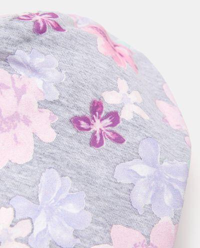 Berrettino in cotone elasticato con fantasia floreale neonata