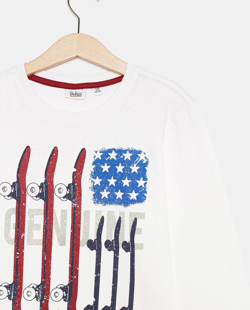 T-shirt con lettering di cotone organico ragazzo single tile 1