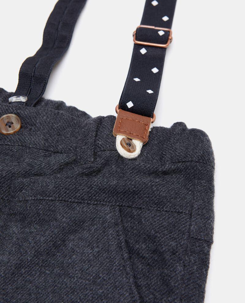 Pantaloni con bretelle in puro cotone neonato single tile 1