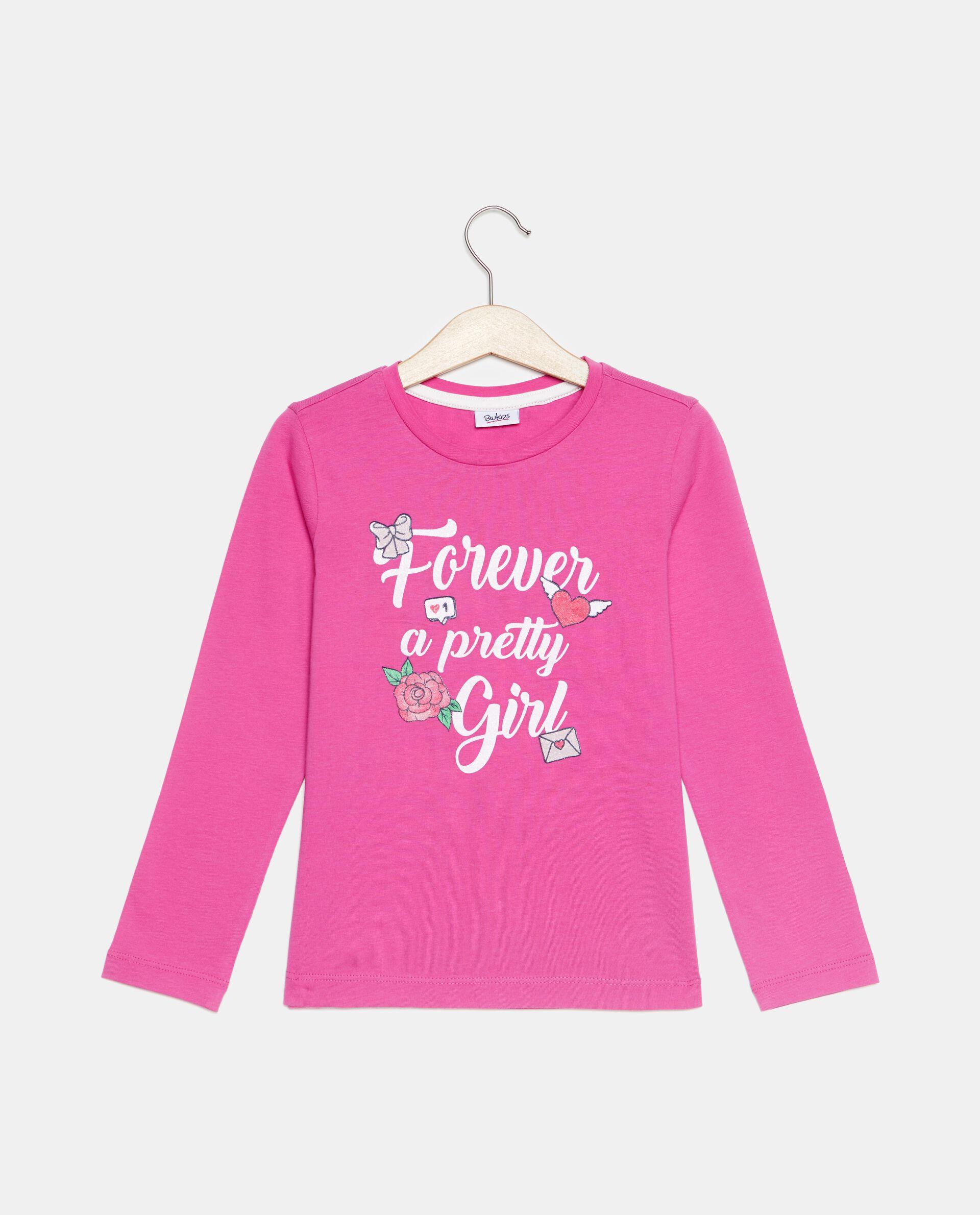 T-shirt con lettering e disegno in puro cotone bambina