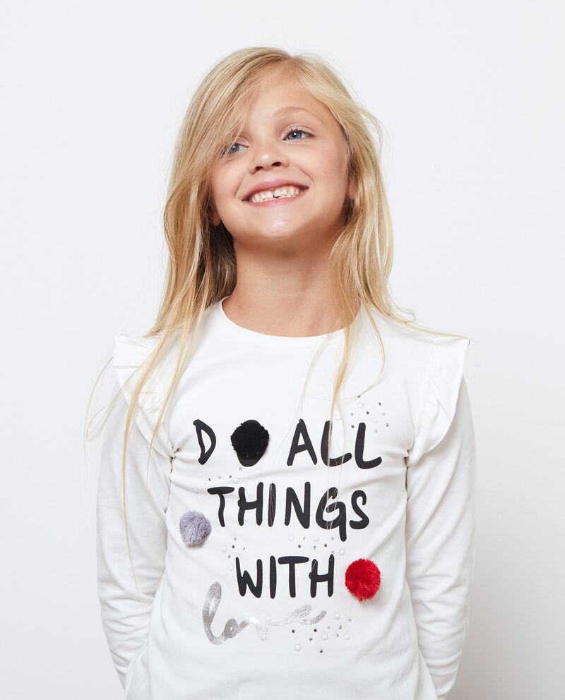 T-shirt maniche lunghe con pon pon