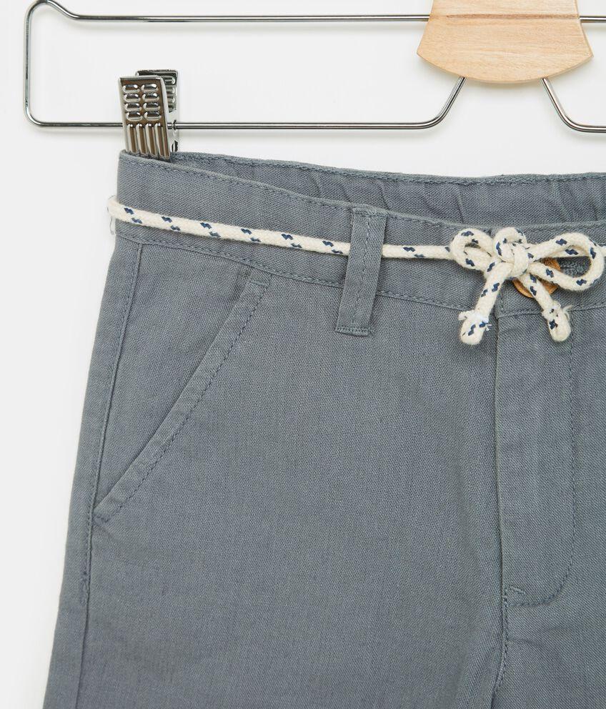Shorts in cotone misto lino tinta unita bambina