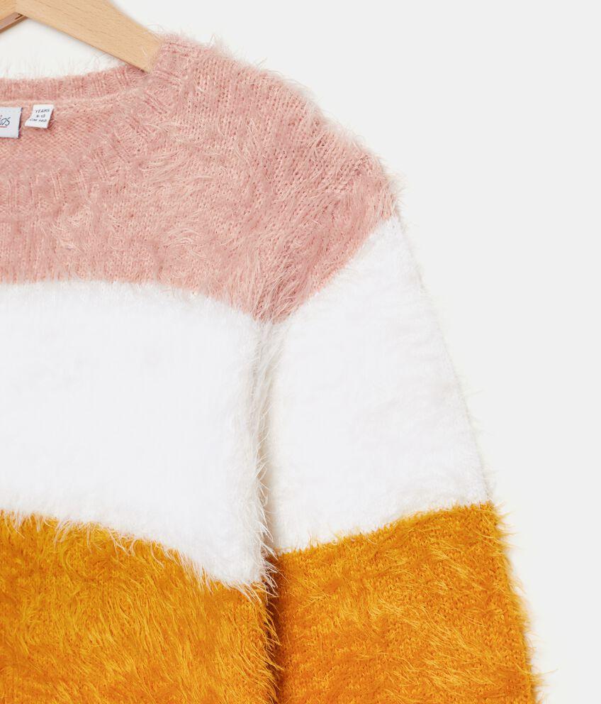 Maglione morbido con righe colorate ragazza